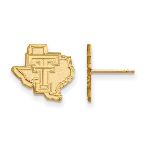 10ky LogoArt Texas Tech University Small Post Earrings