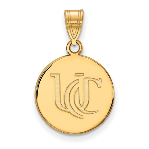 Sterling Silver w/GP LogoArt University of Cincinnati Medium Pendant