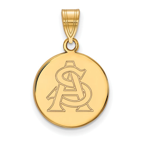 10ky LogoArt Arizona State University Medium Disc Pendant