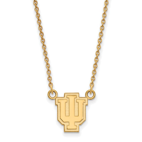 Sterling Silver w/GP LogoArt Indiana University Small Pendant w/Necklace