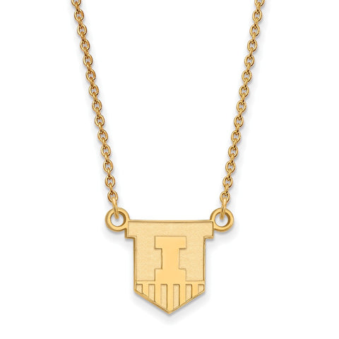 10ky LogoArt University of Illinois Small Pendant w/Necklace