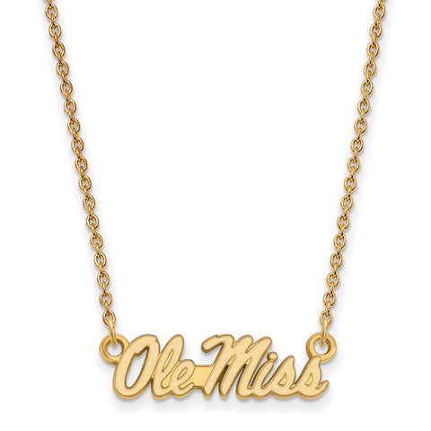 10ky LogoArt University of Mississippi Small Pendant w/Necklace