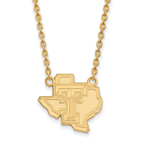 14ky LogoArt Texas Tech University Large Pendant w/Necklace