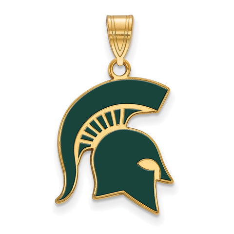 Sterling Silver w/GP LogoArt Michigan State University Large Enamel Pendant