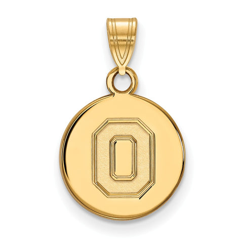 Sterling Silver w/GP LogoArt Ohio State University Small Disc Pendant