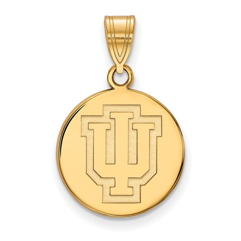 Sterling Silver w/GP LogoArt Indiana University Medium Disc Pendant