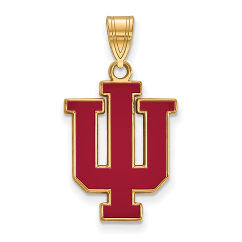 Sterling Silver w/GP LogoArt Indiana University Large Enamel Pendant