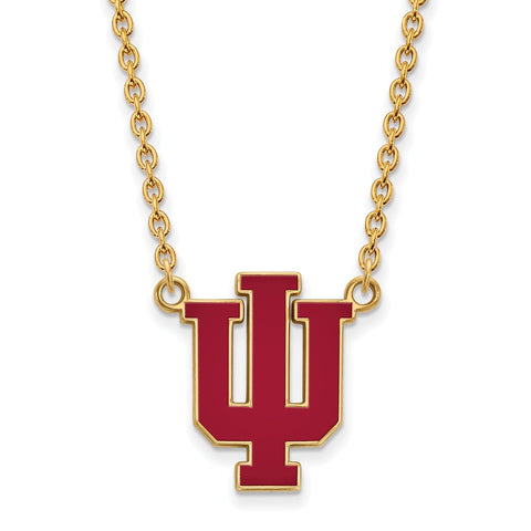 Sterling Silver w/GP LogoArt Indiana University Lg Enl Pendant w/Necklace