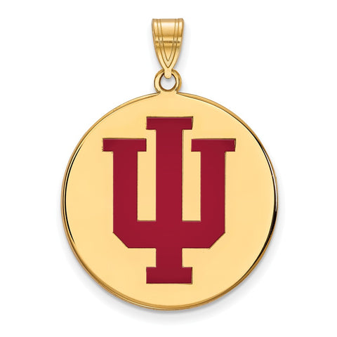 Sterling Silver w/GP LogoArt Indiana University XL Enamel Disc Pendant