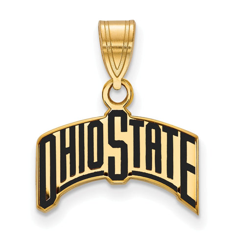 Sterling Silver w/GP LogoArt Ohio State University Medium Enamel Pendant