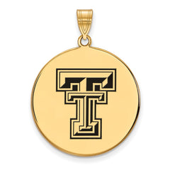 Sterling Silver w/GP LogoArt Texas Tech University XL Enamel Disc Pendant