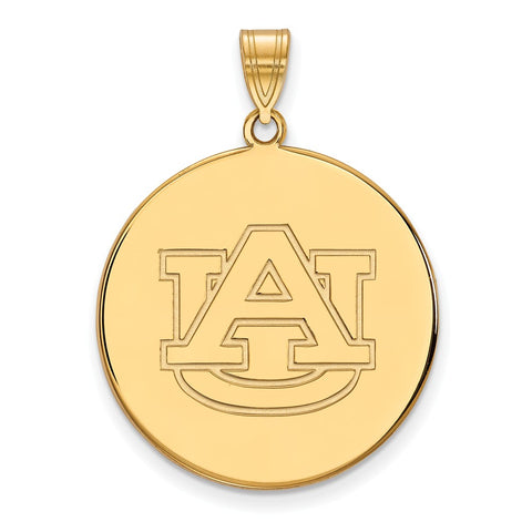 Sterling Silver w/GP LogoArt Auburn University XL Disc Pendant