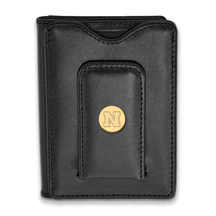 Sterling Silver w/GP LogoArt University of Nebraska Black Leather Wallet