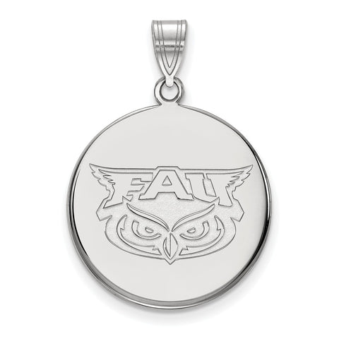 Sterling Silver LogoArt Florida Atlantic Large Disc Pendant