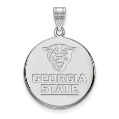 Sterling Silver LogoArt Georgia State University Large Disc Pendant