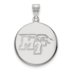 Sterling Silver LogoArt Middle Tennessee State University Large Disc Pendan