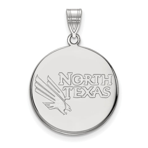 Sterling Silver LogoArt University of North Texas Large Disc Pendant