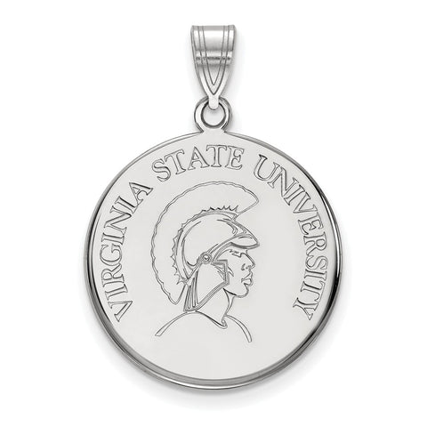 Sterling Silver LogoArt Virginia State University Large Disc Pendant