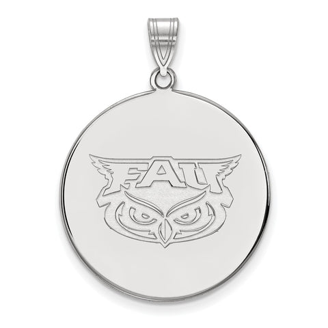 Sterling Silver LogoArt Florida Atlantic XL Disc Pendant