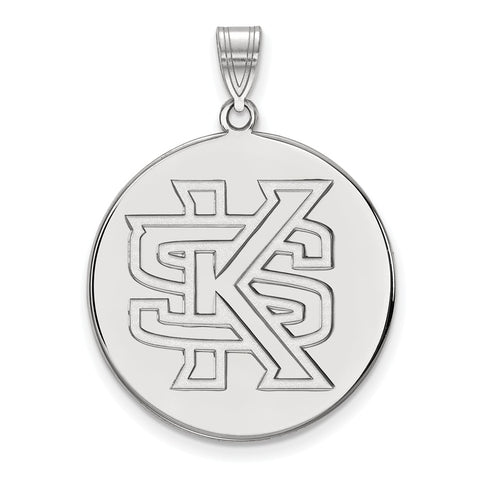 Sterling Silver LogoArt Kennesaw State XL Disc Pendant