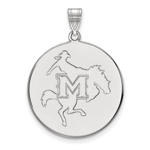 Sterling Silver LogoArt McNeese State University XL Disc Pendant