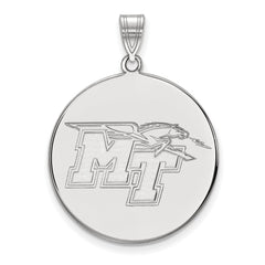 Sterling Silver LogoArt Middle Tennessee State University XL Disc Pendant