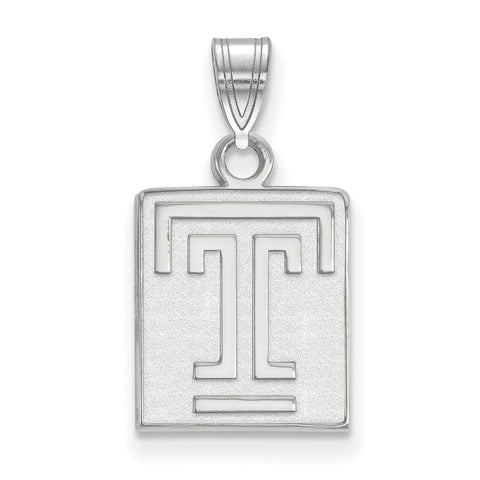 Sterling Silver LogoArt Temple University Small Pendant