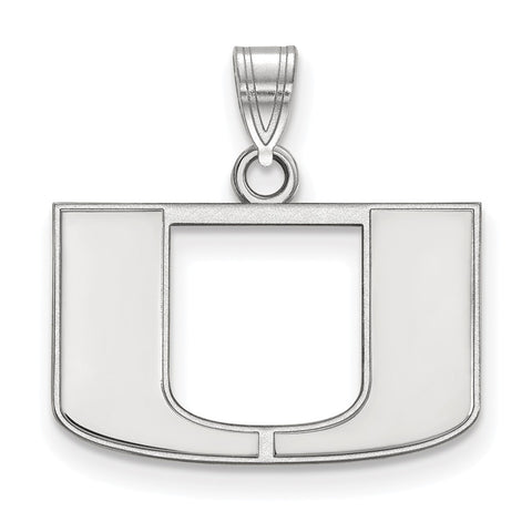 Sterling Silver LogoArt University of Miami Small Pendant