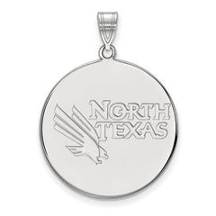 Sterling Silver LogoArt University of North Texas XL Disc Pendant