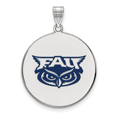 Sterling Silver LogoArt Florida Atlantic XL Enamel Disc Pendant