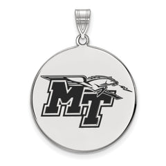 Sterling Silver LogoArt Middle Tennessee State U XL Enamel Disc Pendant