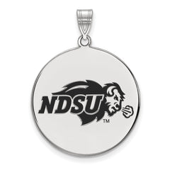 Sterling Silver LogoArt North Dakota State XL Enamel Disc Pendant