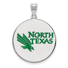 Sterling Silver LogoArt University of North Texas XL Enamel Disc Pendant