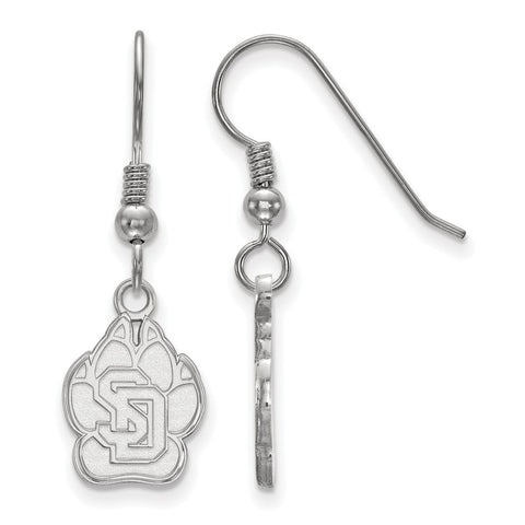 Sterling Silver LogoArt University of South Dakota Small Dangle Earrings