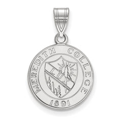 Sterling Silver LogoArt Meredith College Medium Crest Pendant