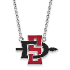 Sterling Silver LogoArt San Diego State University Large Pendant w/Necklace