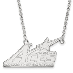 Sterling Silver LogoArt University of Evansville Large Pendant w/Necklace