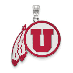 Sterling Silver LogoArt University of Utah XL Enamel Pendant