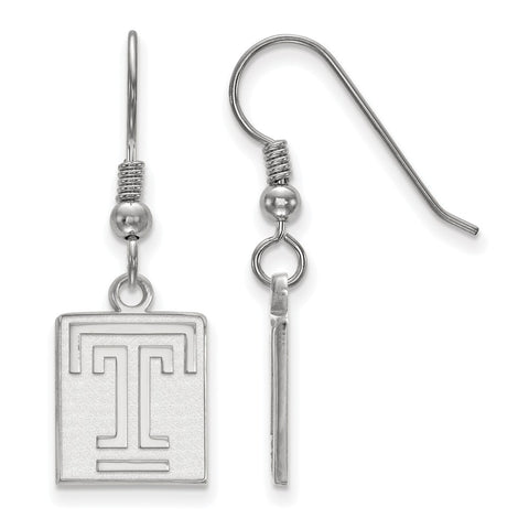 Sterling Silver LogoArt Temple University Small Dangle Earrings