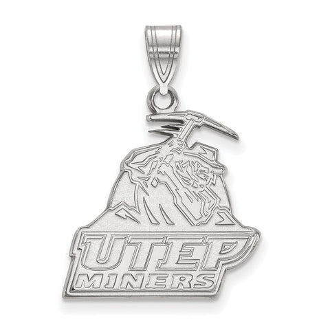 Sterling Silver LogoArt The University of Texas at El Paso Large Pendant
