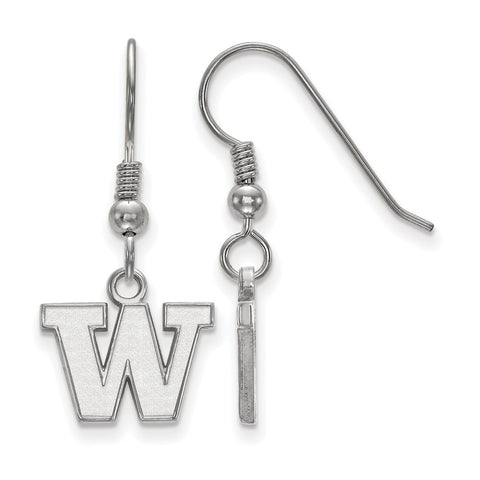 Sterling Silver LogoArt University of Washington XS Dangle Earrings