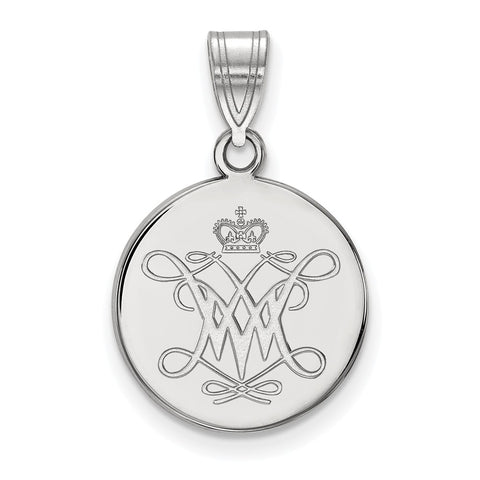 Sterling Silver LogoArt William And Mary Medium Disc Pendant