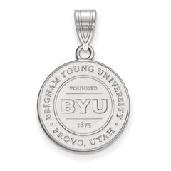 Sterling Silver LogoArt Brigham Young University Medium Crest Pendant