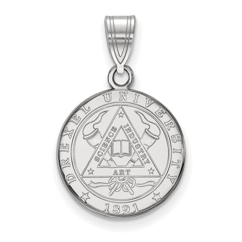Sterling Silver LogoArt Drexel University Medium Crest Pendant
