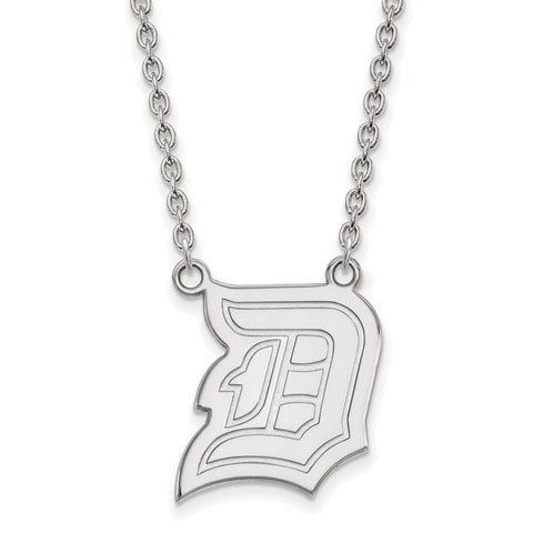 14k White Gold Logoart Duquesne University Dukes Large Pendant W/Necklace