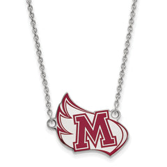 Sterling Silver LogoArt Meredith College Large Enamel Pendant w/Necklace