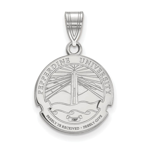 Sterling Silver LogoArt Pepperdine University Medium Crest Pendant