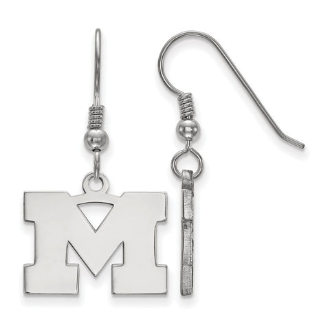 Sterling Silver LogoArt University of Michigan Small Dangle Earrings