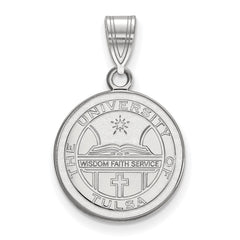 Sterling Silver LogoArt The University of Tulsa Medium Crest Pendant