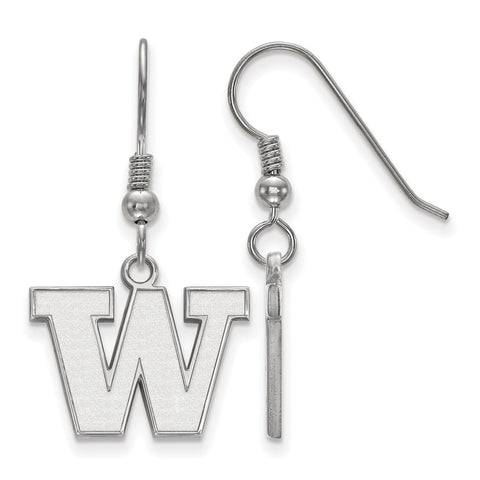 Sterling Silver LogoArt University of Washington Small Dangle Earrings